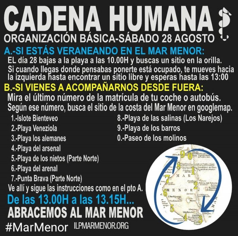 <span style='color:#780948'>ARCHIVED</span> - Human chain protest planned for Mar Menor on Saturday, August 28