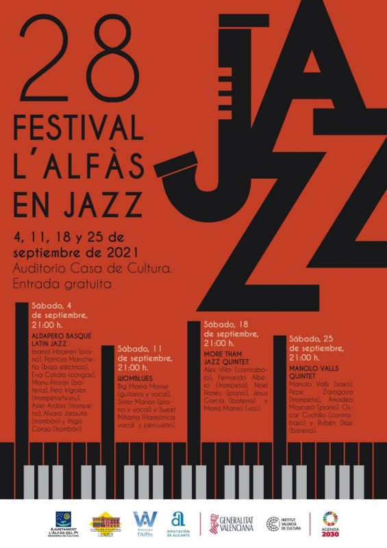 <span style='color:#780948'>ARCHIVED</span> - 28th edition of Alfaz del Pi Jazz Festival every Saturday in September