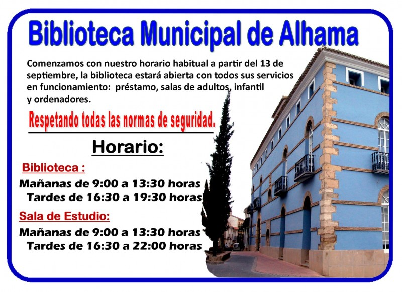 Alhama de Murcia library opening times
