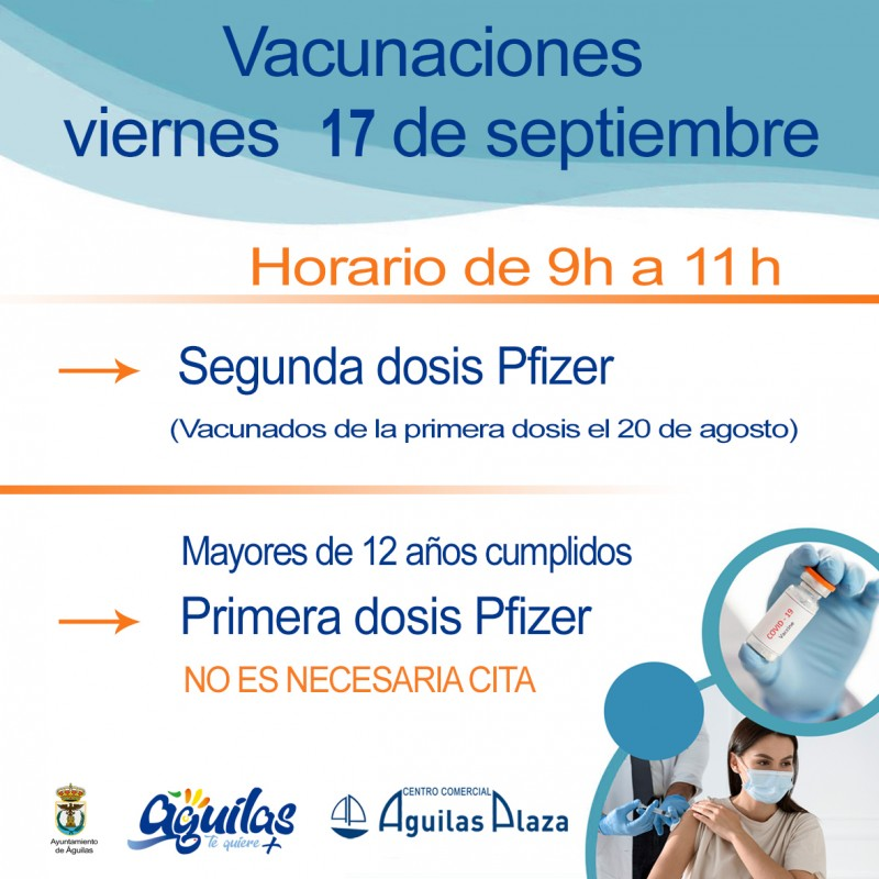 <span style='color:#780948'>ARCHIVED</span> - Covid vaccines available for over 12s in Aguilas: September 17
