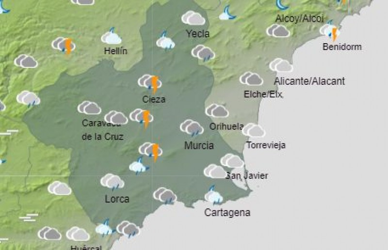<span style='color:#780948'>ARCHIVED</span> - Heavy rain and storms expected across Murcia this Monday: September 20