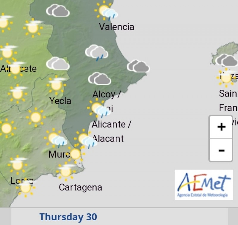 <span style='color:#780948'>ARCHIVED</span> - Cloudy skies and rain ahead in Alicante: September 30 and October 1