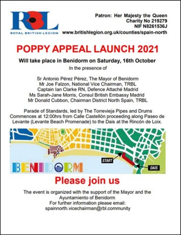 <span style='color:#780948'>ARCHIVED</span> - Benidorm will host official Poppy Appeal Launch 2021: October 16