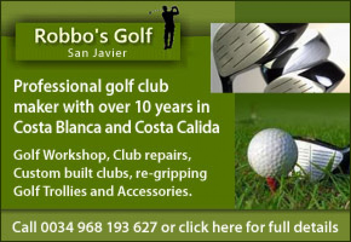 Robbos golf workshop for repairs and custom made golf clubs San Javier