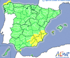 Yellow weather alert for Thursday evening in Murcia Region