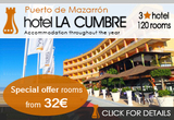 Hotel La Cumbre: panoramic views, 3-star accommodation, restaurant in Puerto de Mazarrón