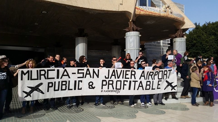 Protesters demand a lifeline for San Javier airport