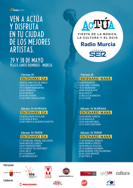 <span style='color:#780948'>ARCHIVED</span> - 29th and 30th May, Actúa, free concerts and other activities in the centre of Murcia