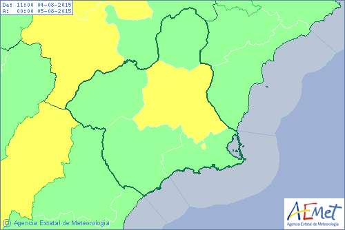 Yellow storm alert for Murcia region on Tuesday afternoon