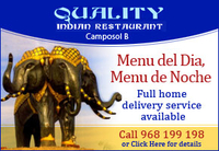 Menú Del Día for 9.95€ at Quality Indian in Camposol
