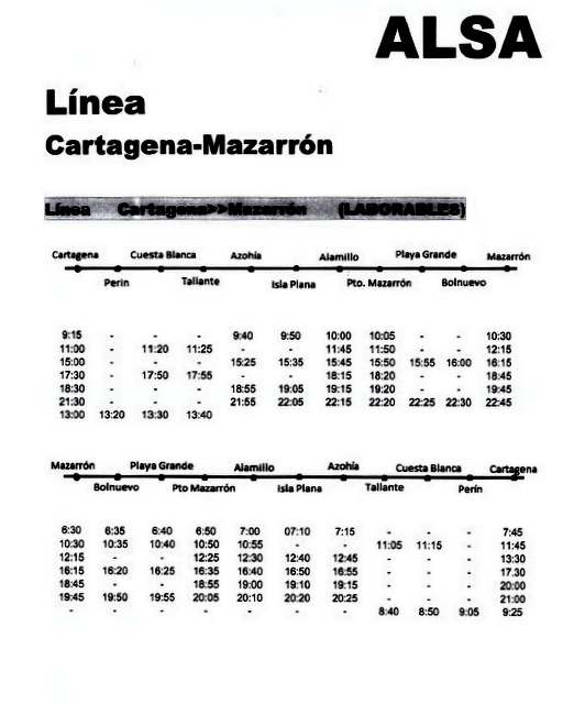 Murcia Today Span Style Color 780948 Archived Span Bus Timetable Mazarrón Cartagena Service