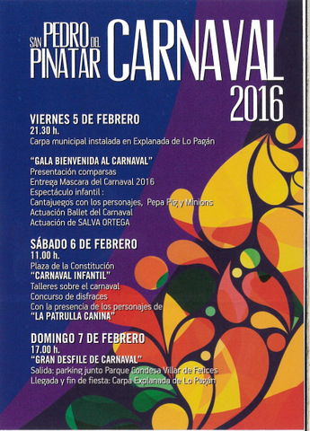 5th to 7th February Carnival in San Pedro del Pinatar
