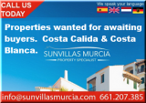 Properties wanted  for Sale in the Costa Cálida or Costa Blanca areas with Sunvillas Murcia
