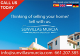 Buy or sell your home in the Costa Cálida or Costa Blanca areas with Sun Villas Murcia