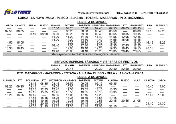 Murcia Today Span Style Color 780948 Archived Span Bus Timetable Mazarron Lorca Totana Alhama Summer 2016