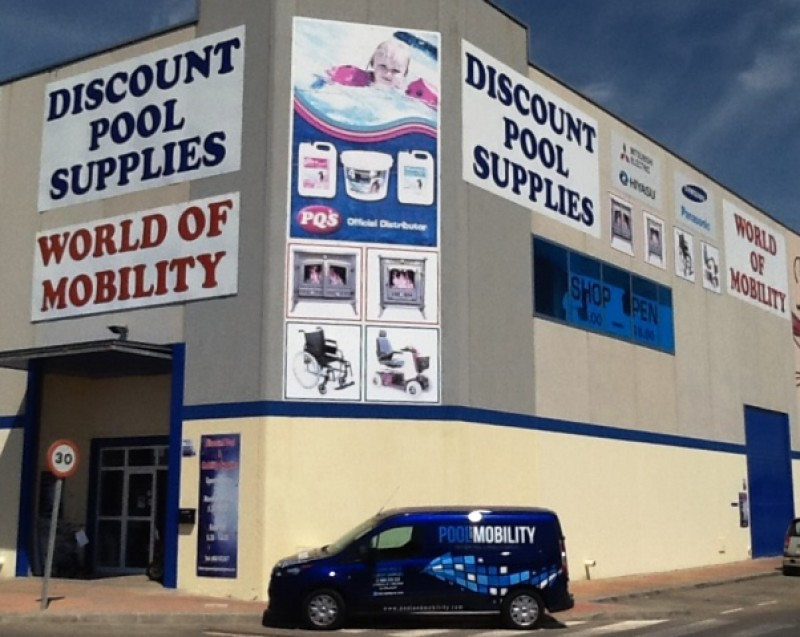 Discount pool supplies, heating suppliers and mobility sales and hire,  San Javier, Murcia.
