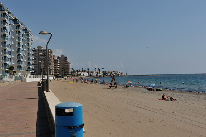 Playa del Pudrimel, a Mediterranean beach in the San Javier section of La Manga del Mar Menor
