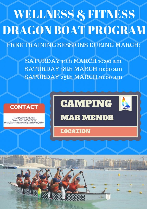 26th March come and learn Dragon boating on the Mar Menor: free training session for foreigners