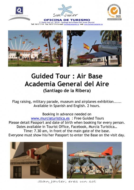 24th March free guided tour of San Javier Air Academy