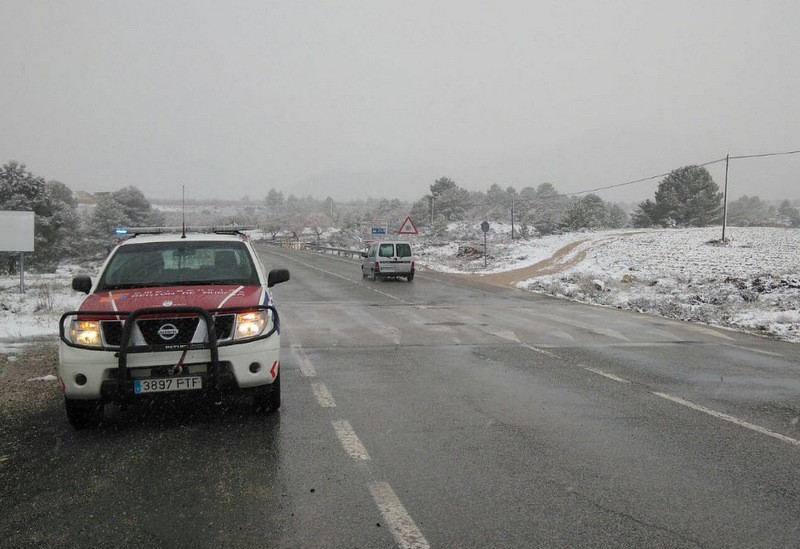 Snow falls in the north-west of Murcia as storm hits the region