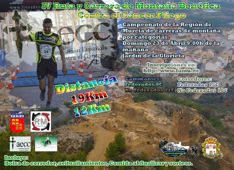 23rd April Pliego mountain race and senderismo route for cancer support