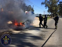 Burning car extinguished at the heliport of Santa Ana in Cartagena