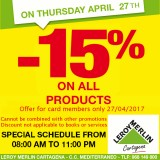 Get 15% off EVERYTHING at Leroy Merlin Cartagena on Thursday 27th April