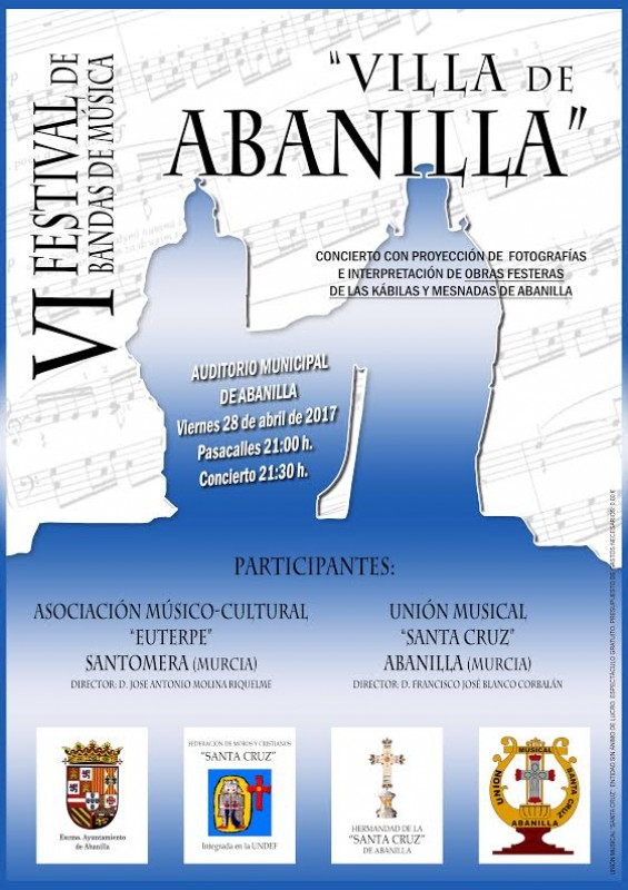 <span style='color:#780948'>ARCHIVED</span> - 28th April Abanilla free concert festival of bands