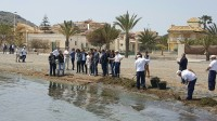 Manual clean-up starts on Los Urrutias beaches in the Mar Menor