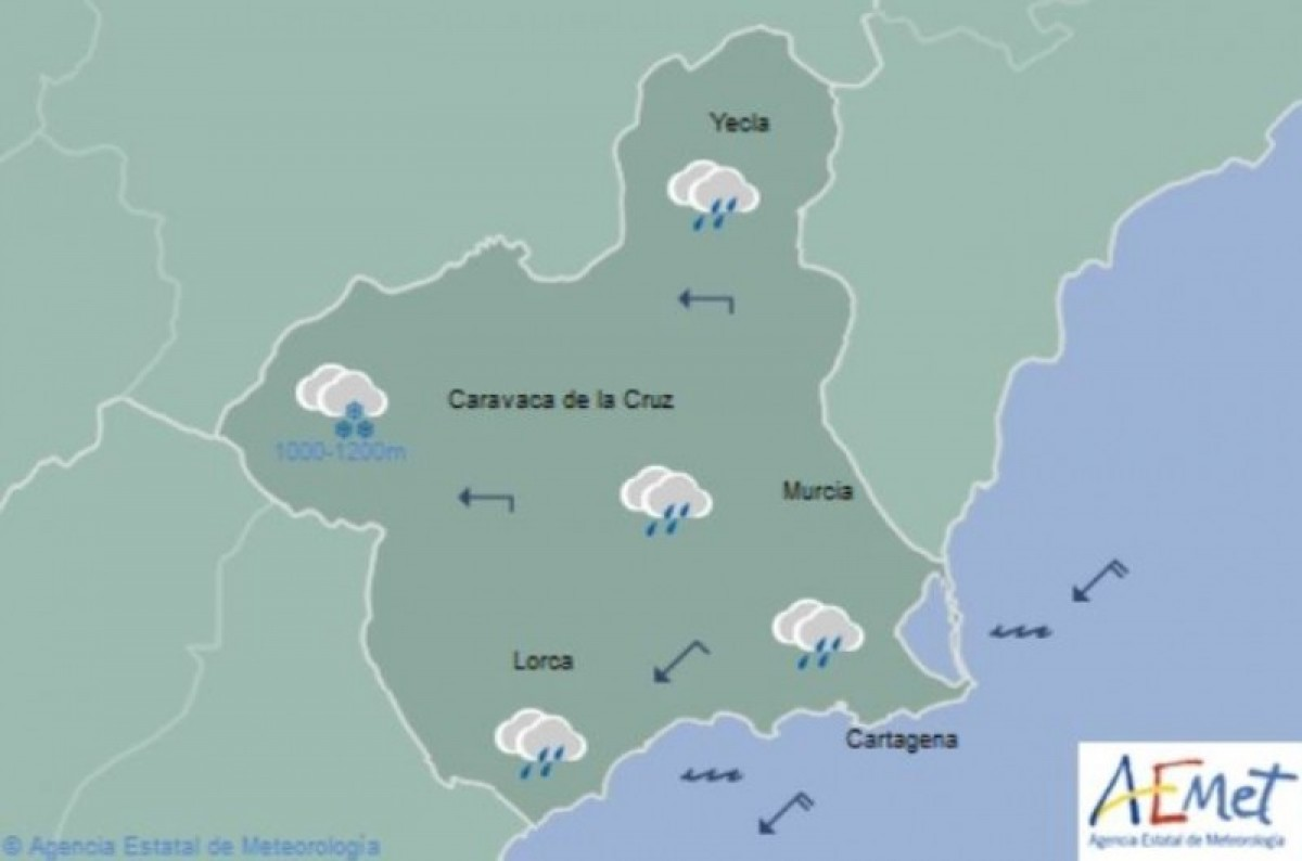 Snow in the Northwest - Region of Murcia Weather Forecast Friday 28th April