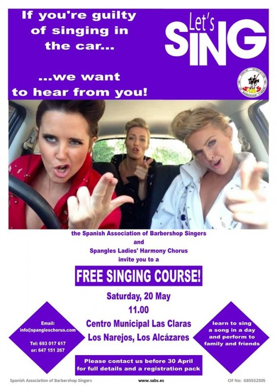 20th May learn to sing with Spangles and SABS