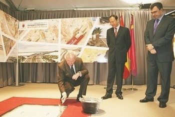 <span style='color:#780948'>ARCHIVED</span> - First stone laid on 28 million euro access road for Corvera Airport