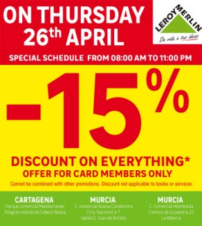 15% discount day leroy merlin April 26th 2018