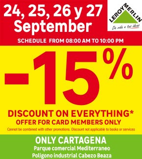 Leroy Merlin 15% discount days
